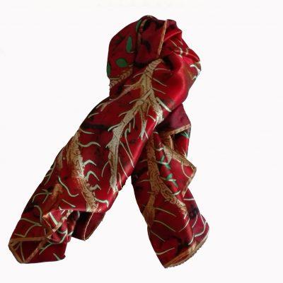 Scoiattolo, foulard di seta, 90 cm x 90 cm
