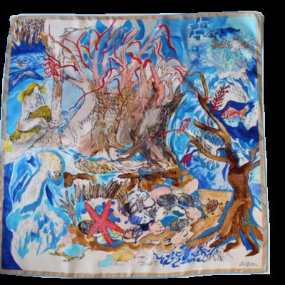 Abissi, foulard di seta , 90 cm x 90 cm